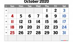Printable October 2020 Calendar PDF