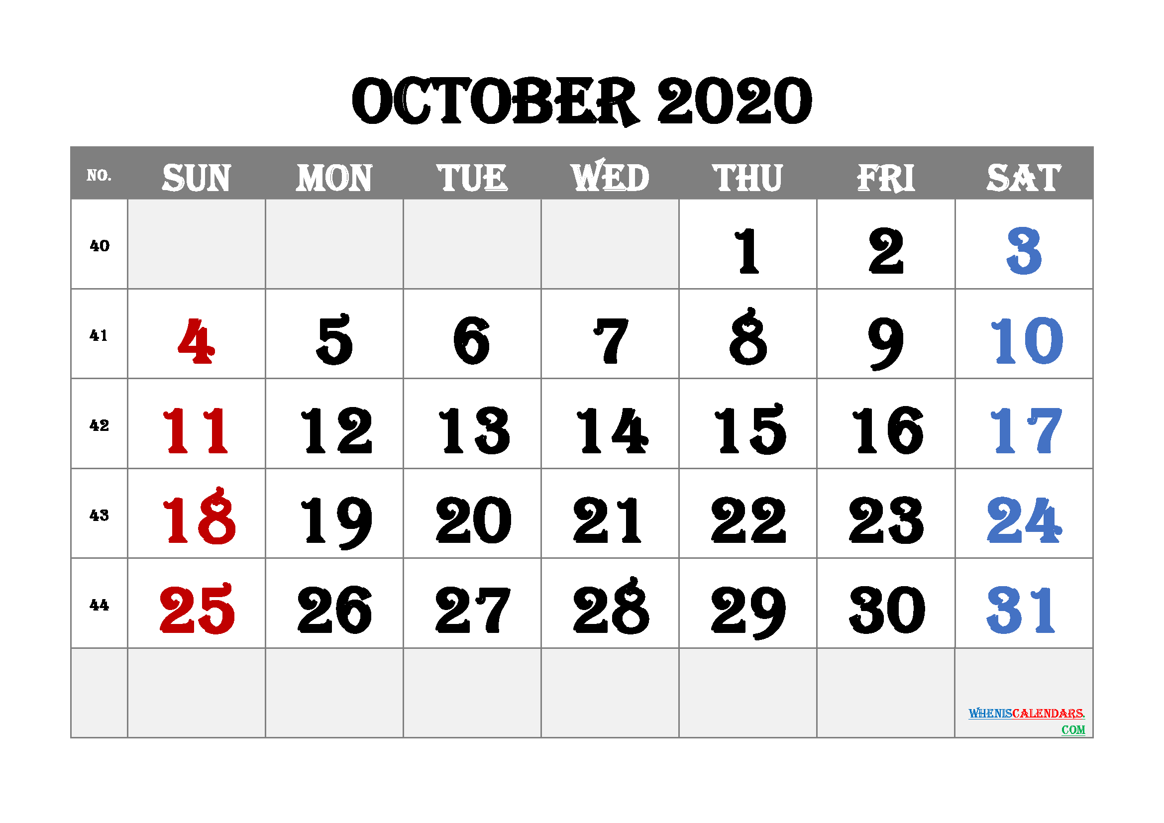 Printable October 2020 Calendar for Free