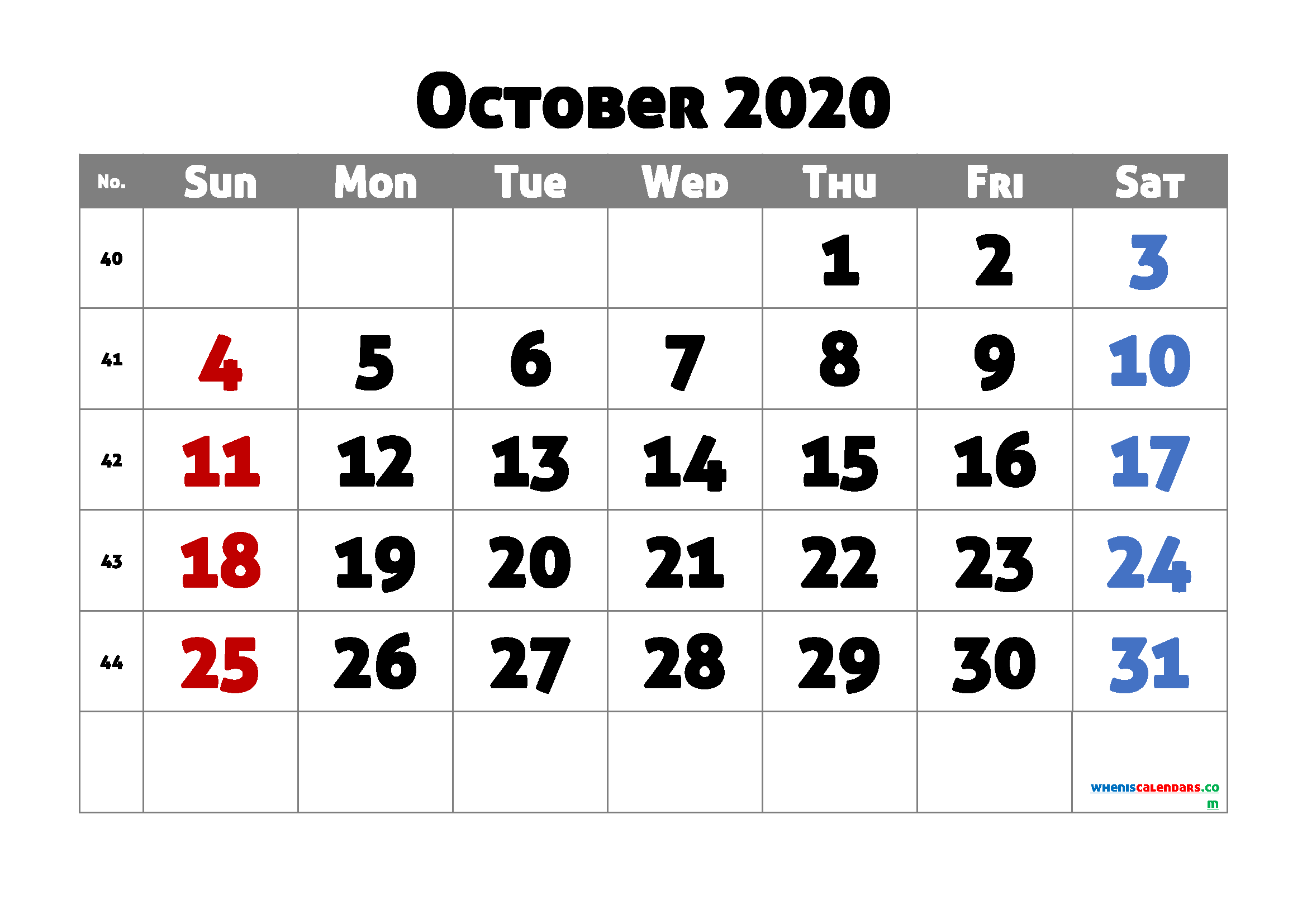 October 2020 Calendar Printable Free