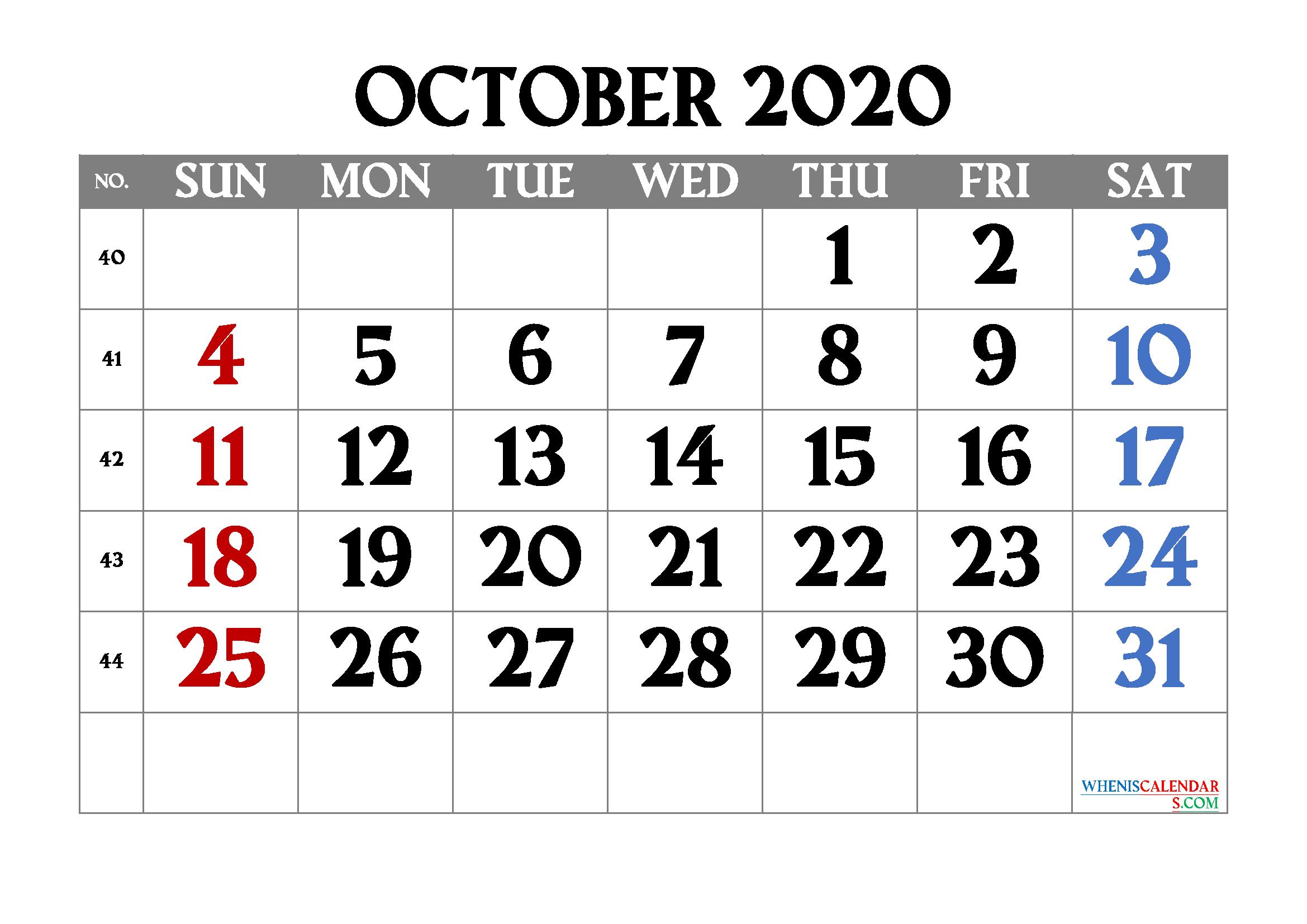 Printable Calendar October 2020
