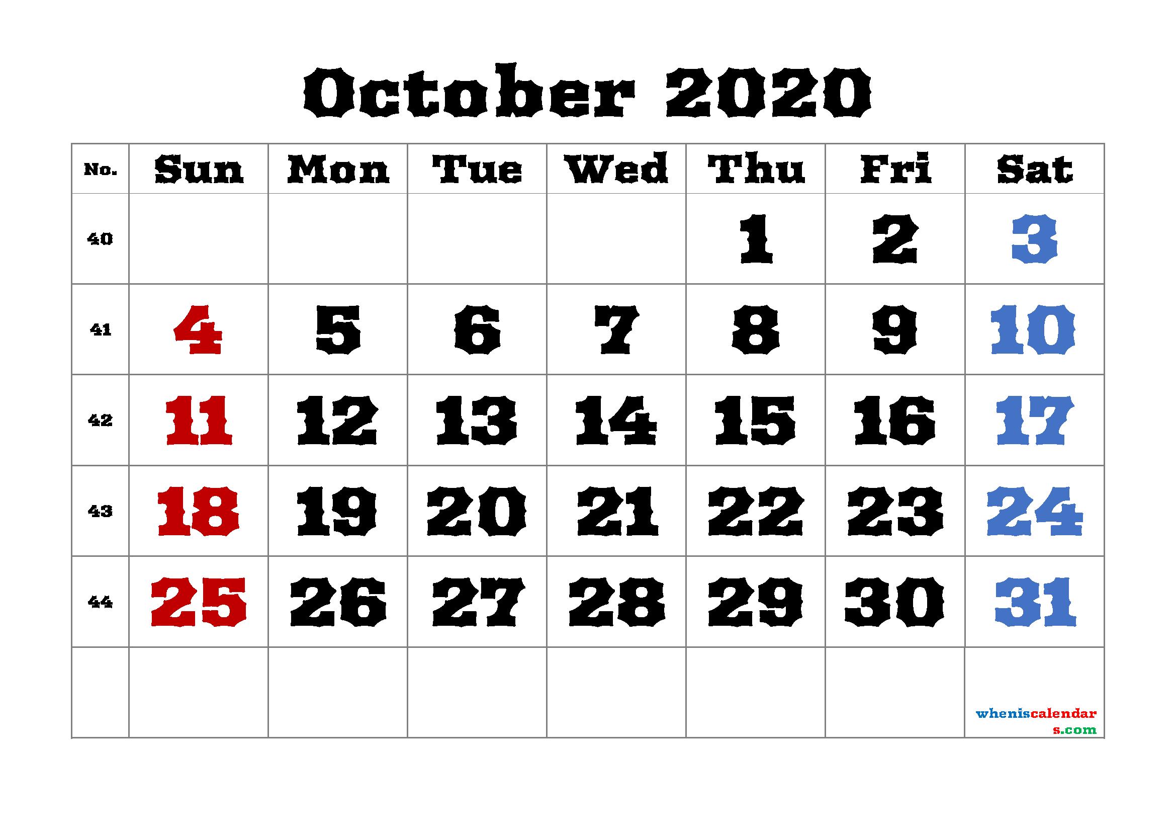 Calendar October 2020 Printable Free