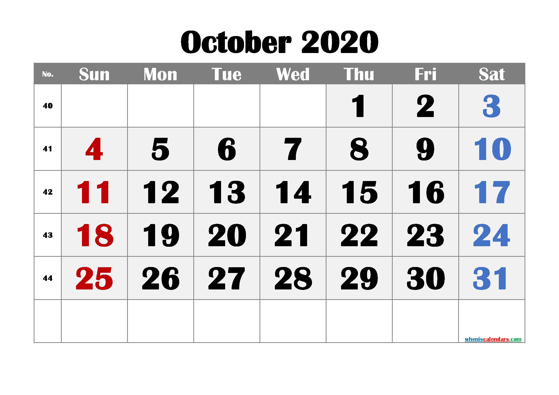 Free Printable October 2020 Calendar