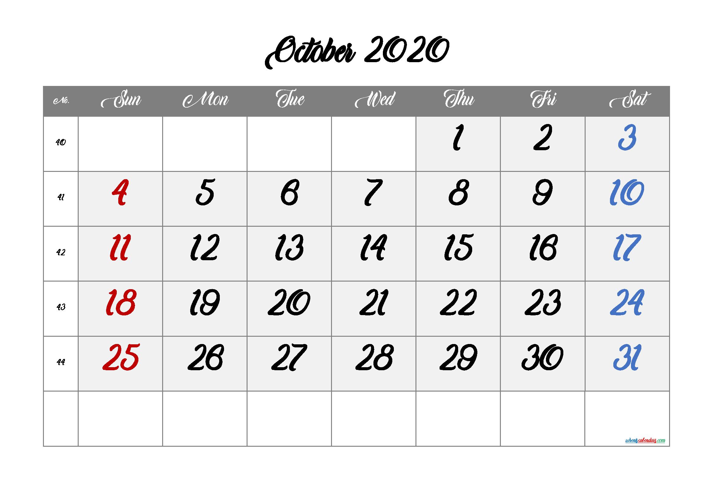 Free Calendar October 2020 Printable