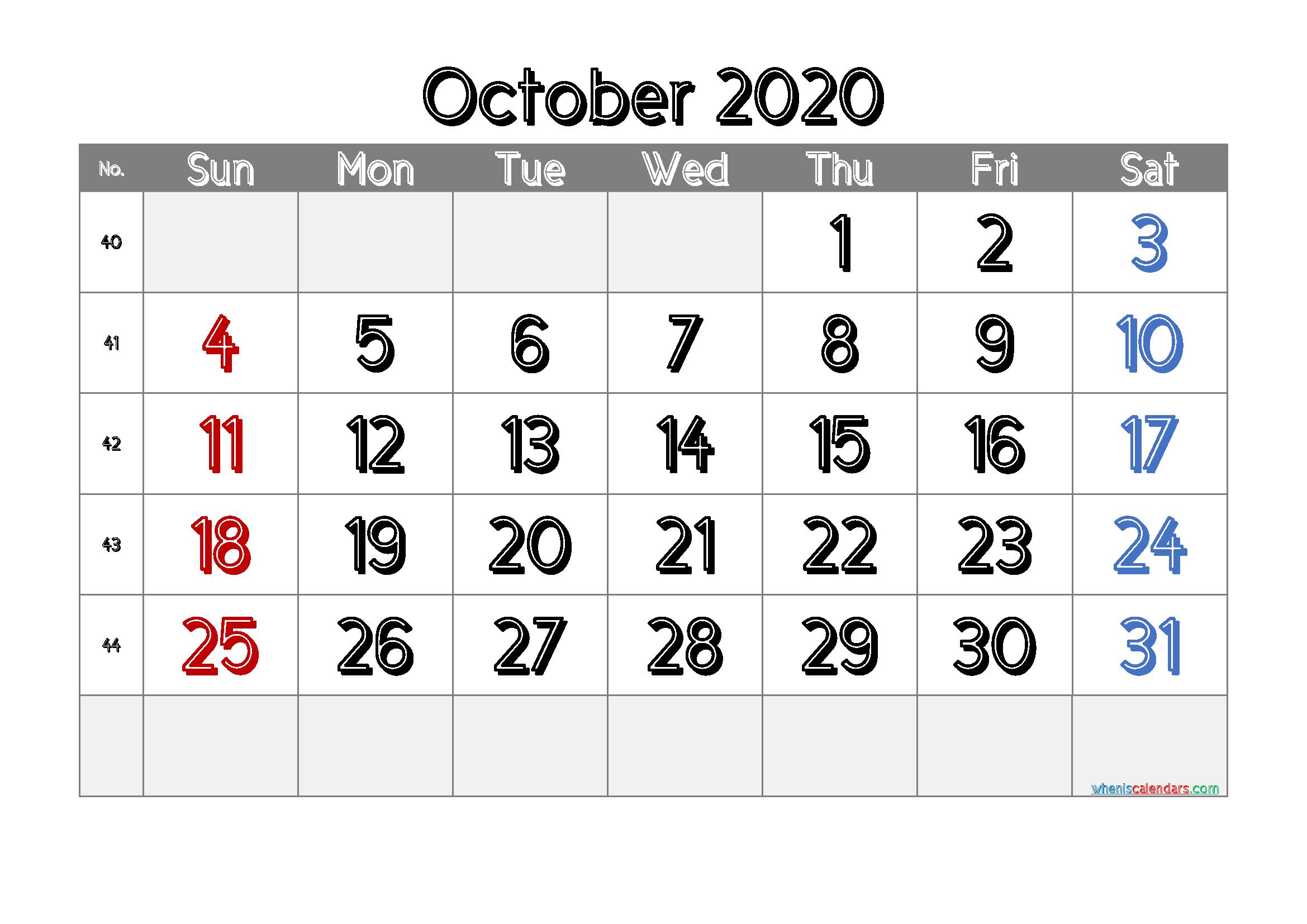 Printable October 2020 Calendar Free