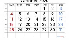 Calendar October 2020 Free Printable