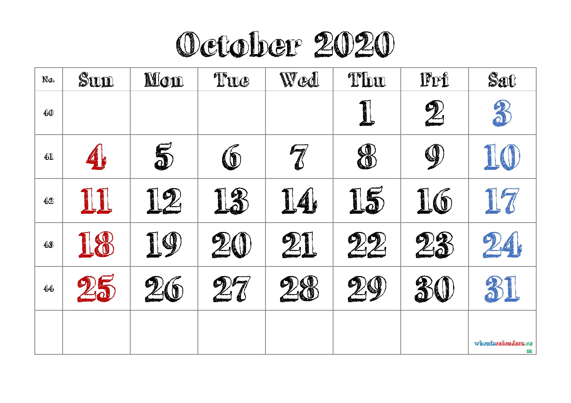 Free October 2020 Calendar Printable