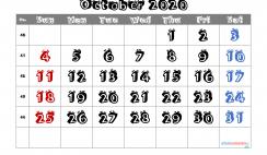 Editable October 2020 Calendar