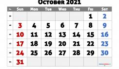 Printable October 2021 Calendar Free