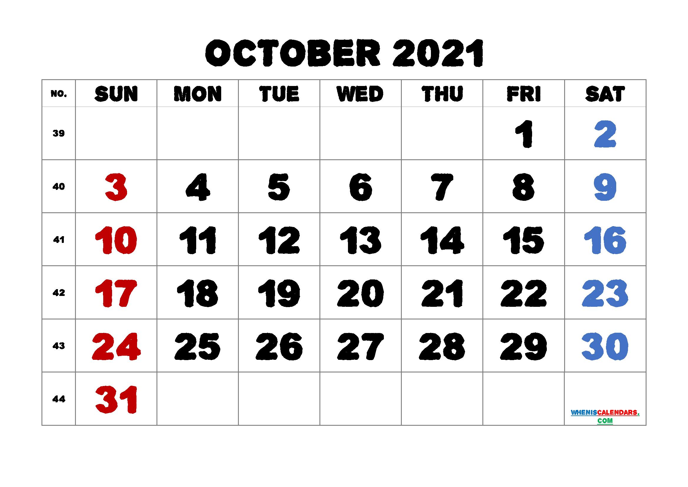 Printable October 2021 Calendar
