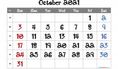 Calendar October 2021 Free Printable