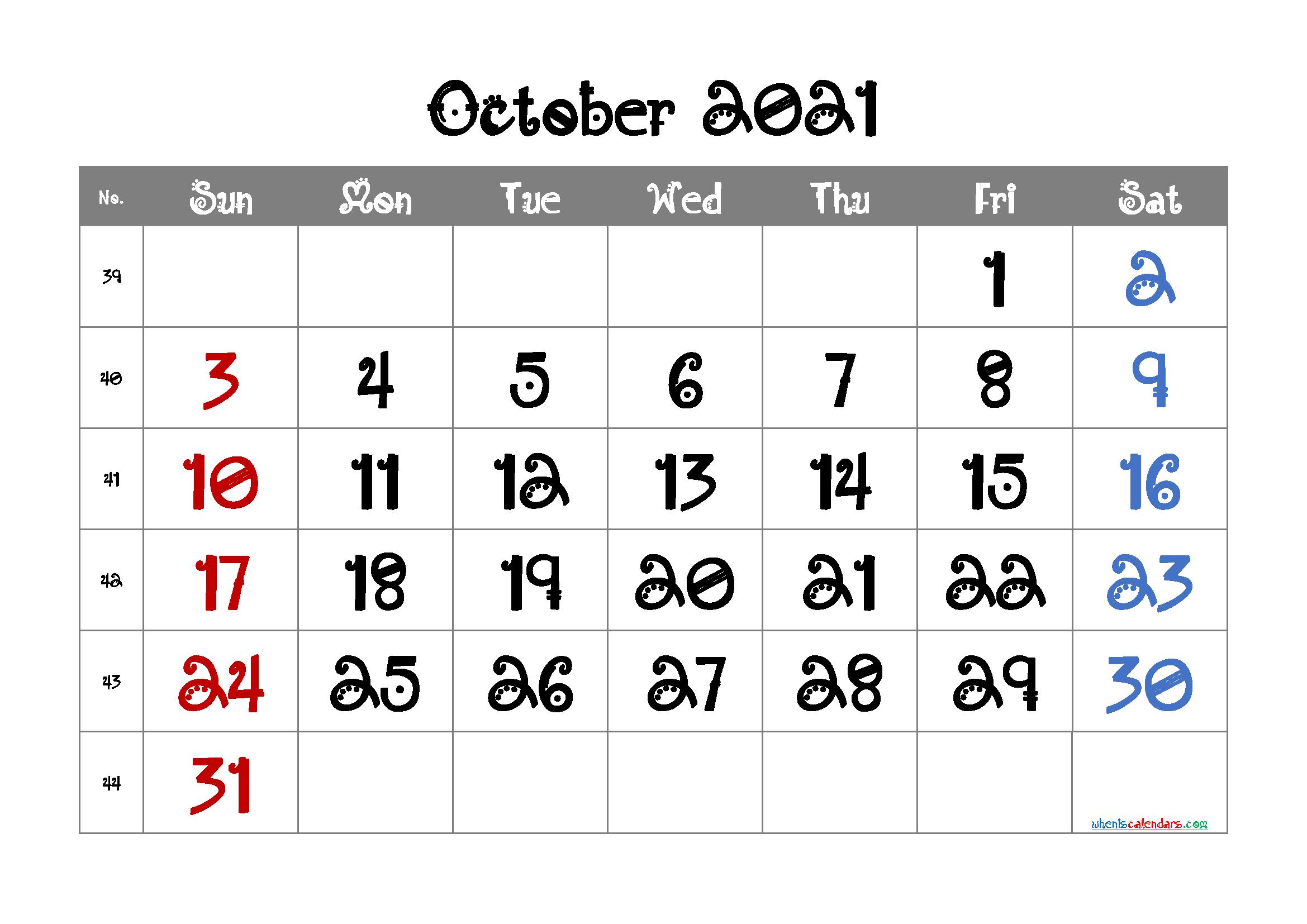 Editable October 2021 Calendar Free