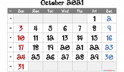 Free Editable October 2021 Calendar