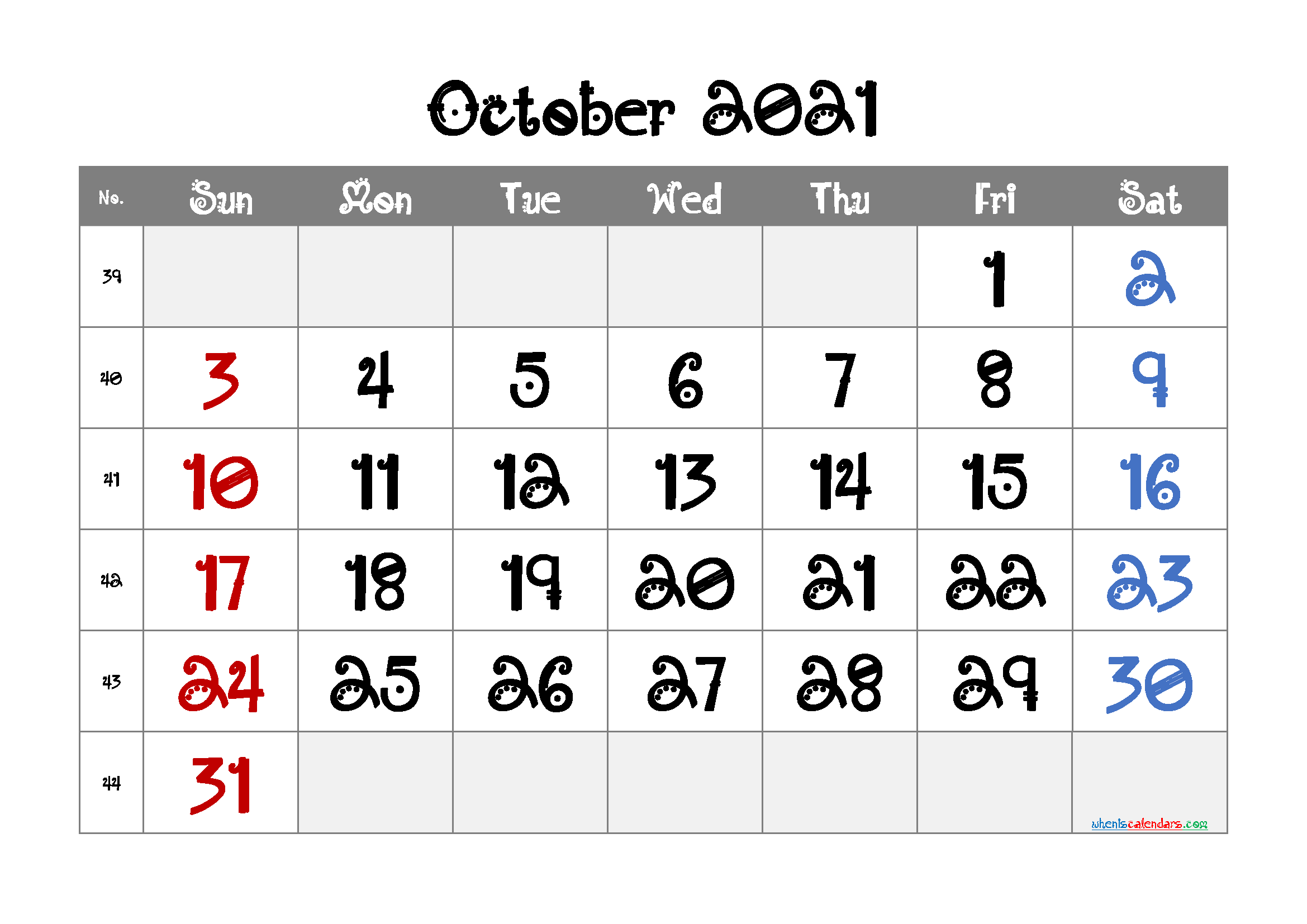 Printable October 2021 Calendar for Free
