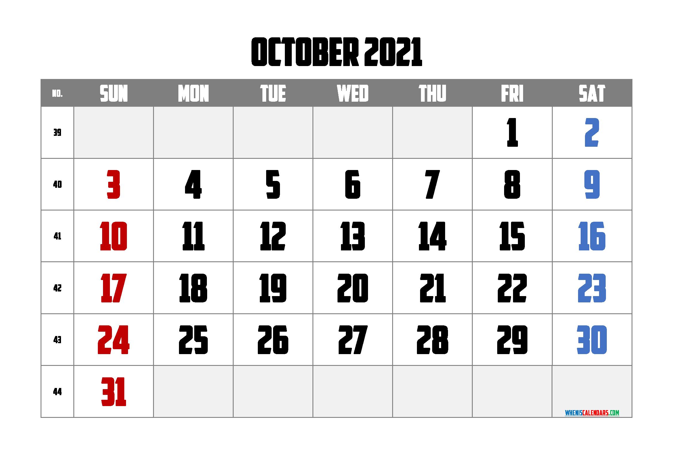 Printable October 2021 Calendar PDF | Template ...
