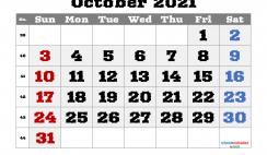 Editable October 2021 Calendar
