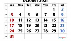 Calendar October 2021 Printable Free