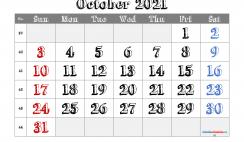Printable October 2021 Calendar PDF
