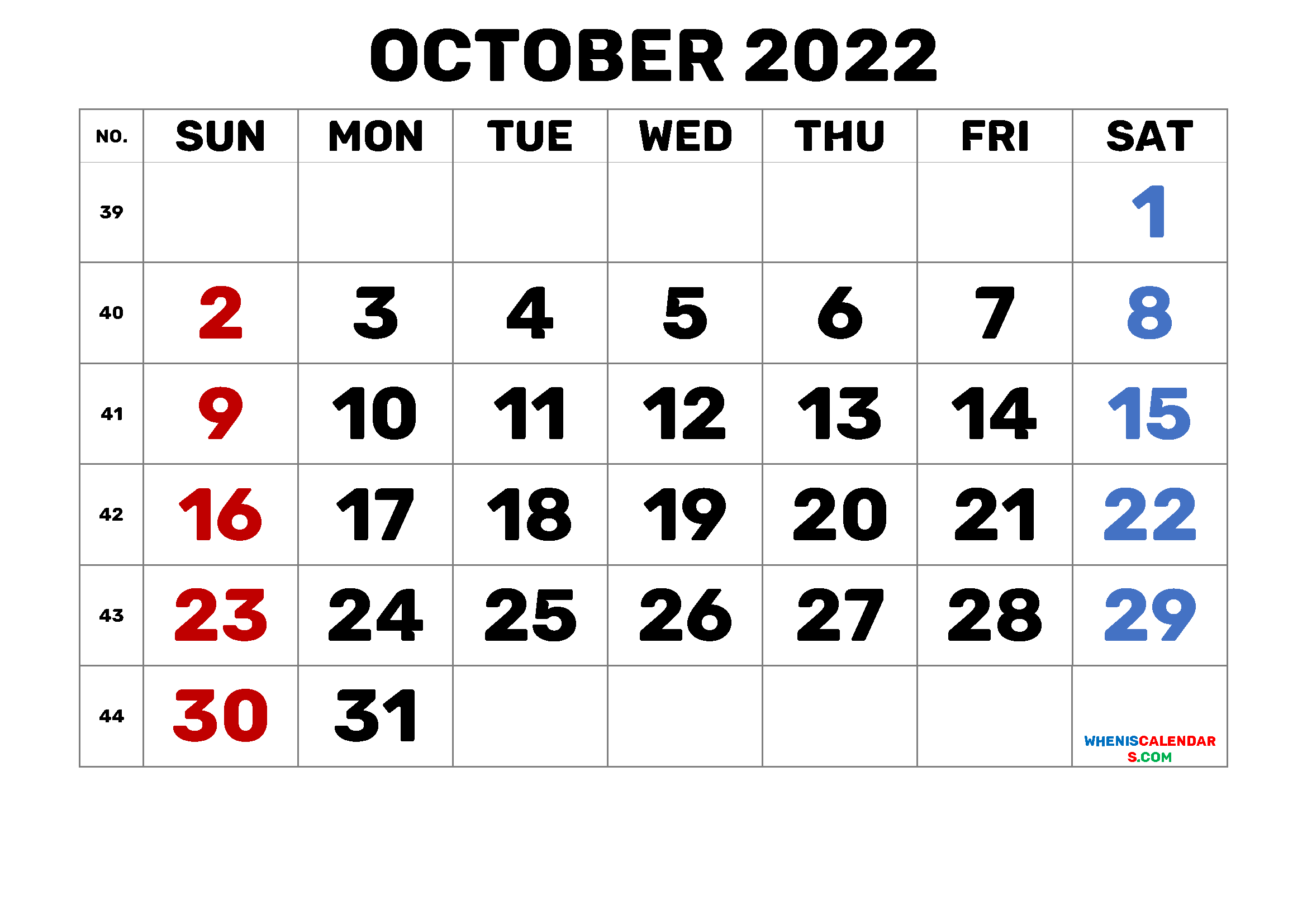 Monthly Calendar October 2022.Calendar October 2022 Printable Free 1 Month 1 Page 2021 Free Printable