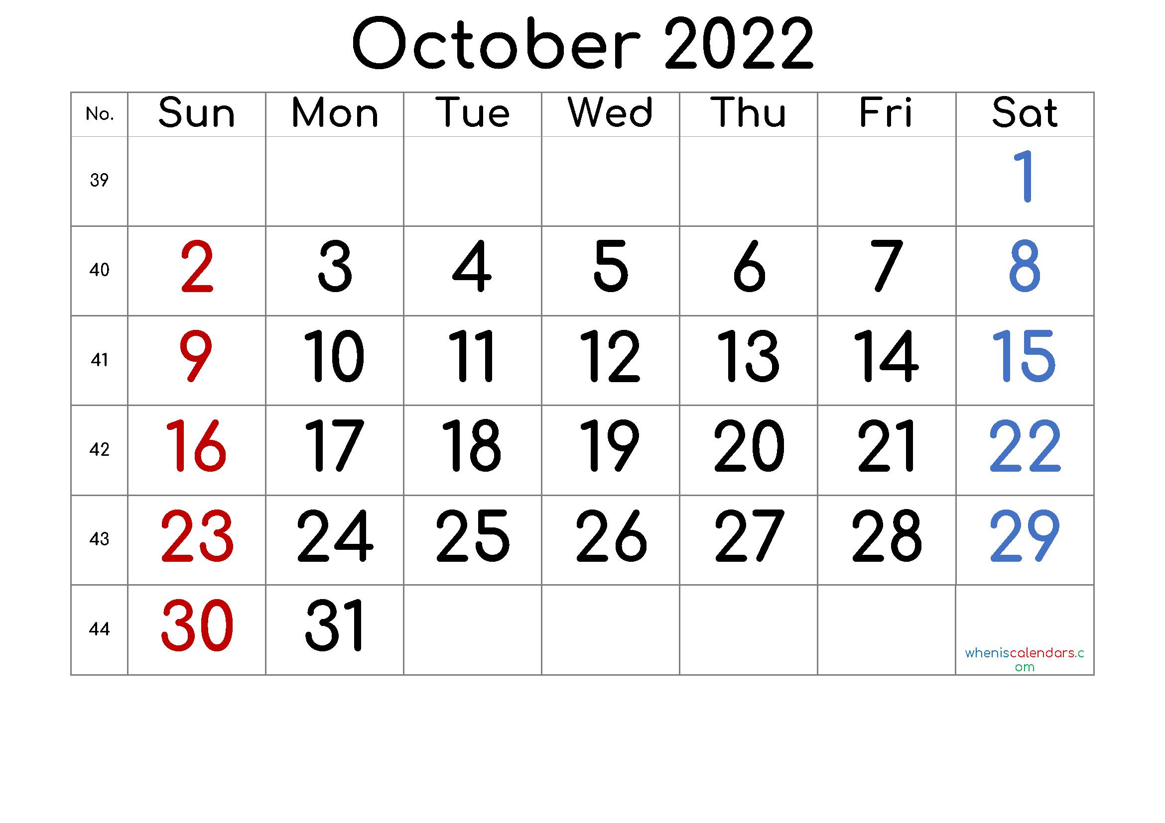 Printable October 2022 Calendar Free
