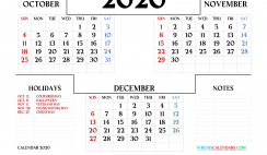 Calendar 2020 Printable