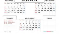 2020 Printable Calendar Free