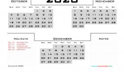 October November December 2020 Calendar Printable