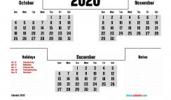 Calendar October November December 2020 Printable