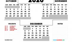 Printable October November December 2020 Calendar