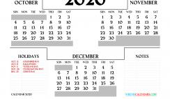 October November December 2020 Printable Calendar