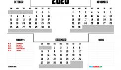 Free October November December 2020 Calendar Printable