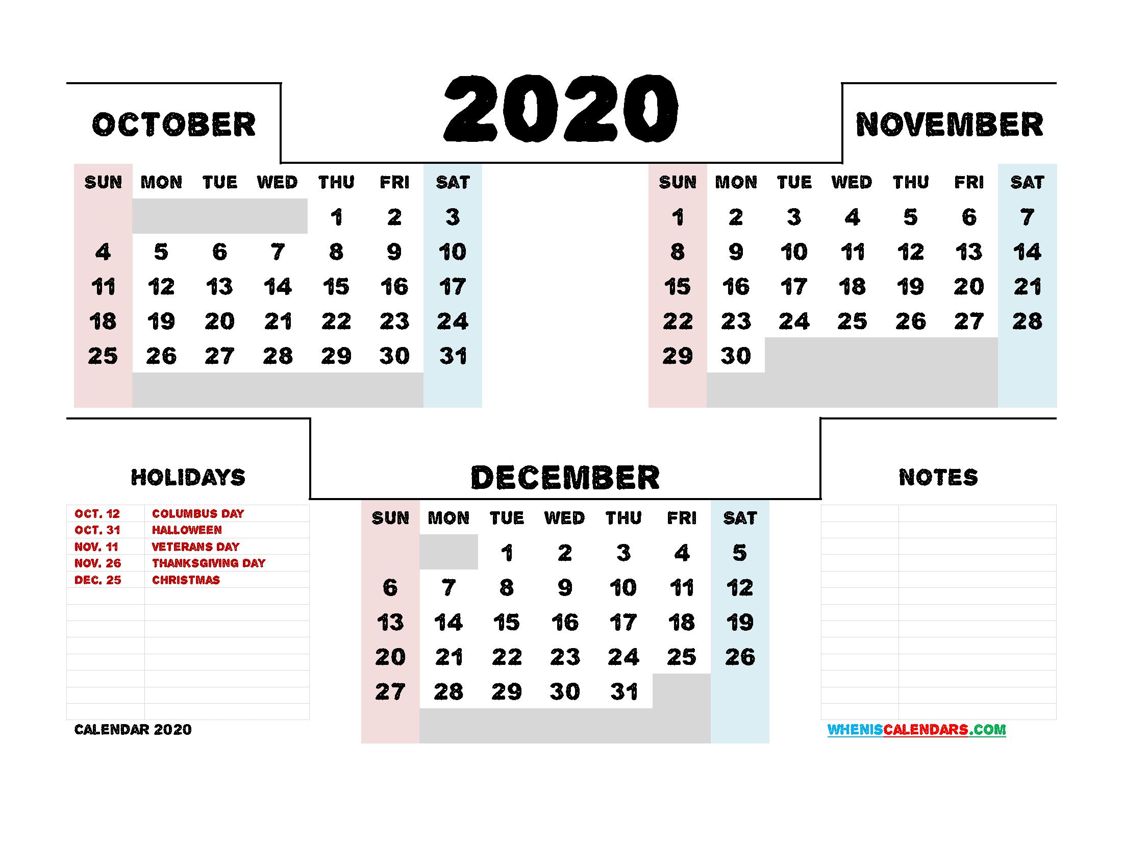 October November December 2020 Calendar Printable 3 Month