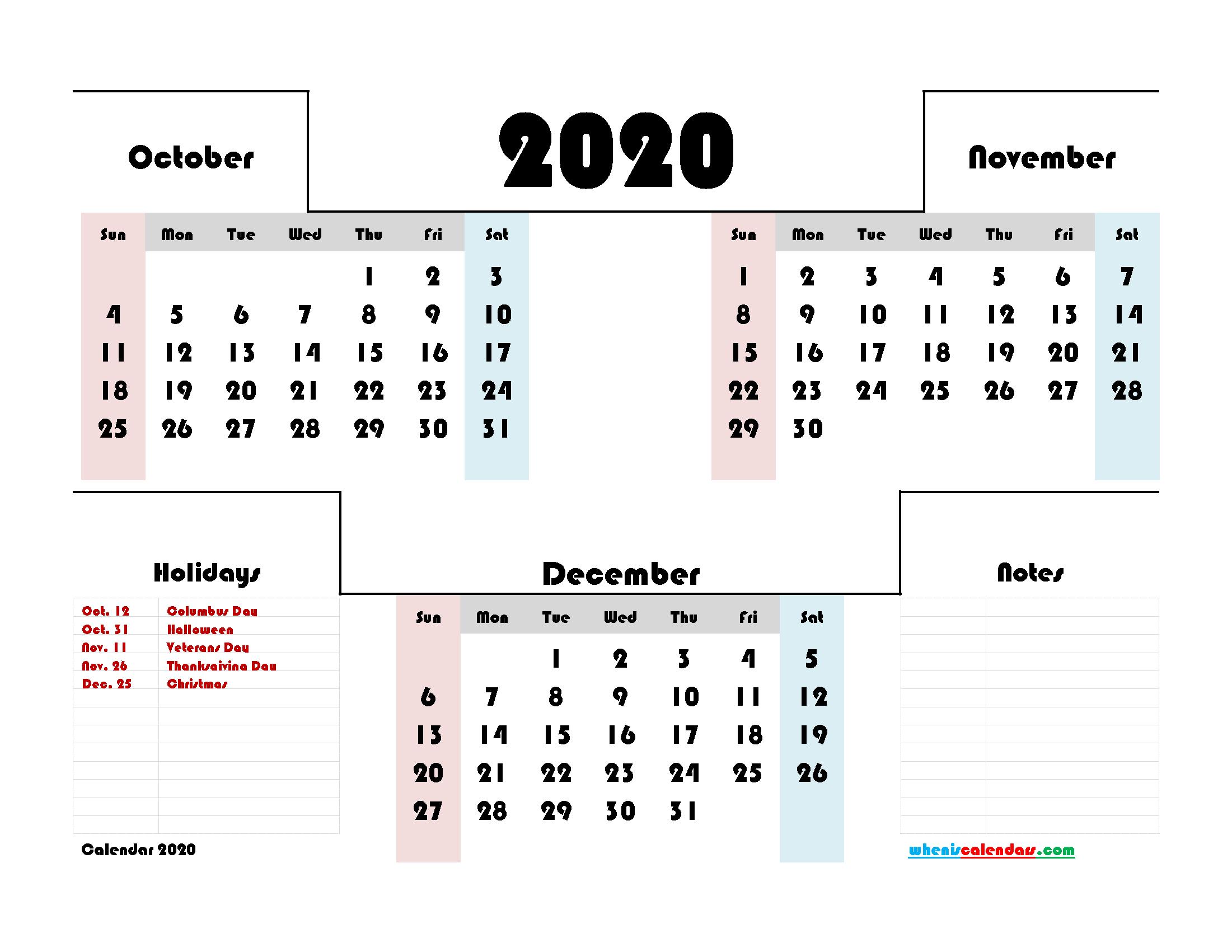 3 Month Calendar Printable October November December 2020