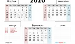 October November December 2020 Printable Calendar Free