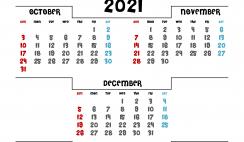October November December 2021 Calendar Printable