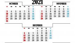 Printable October November December 2021 Calendar