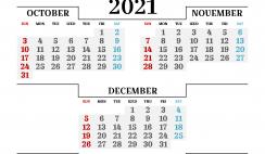 October November December 2021 Printable Calendar Free