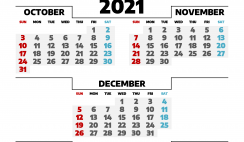 Calendar October November December 2021 Printable