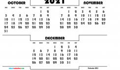 Free October November December 2021 Calendar Printable
