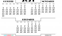 October November December 2021 Printable Calendar