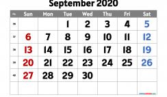 September 2020 Calendar Printable Free