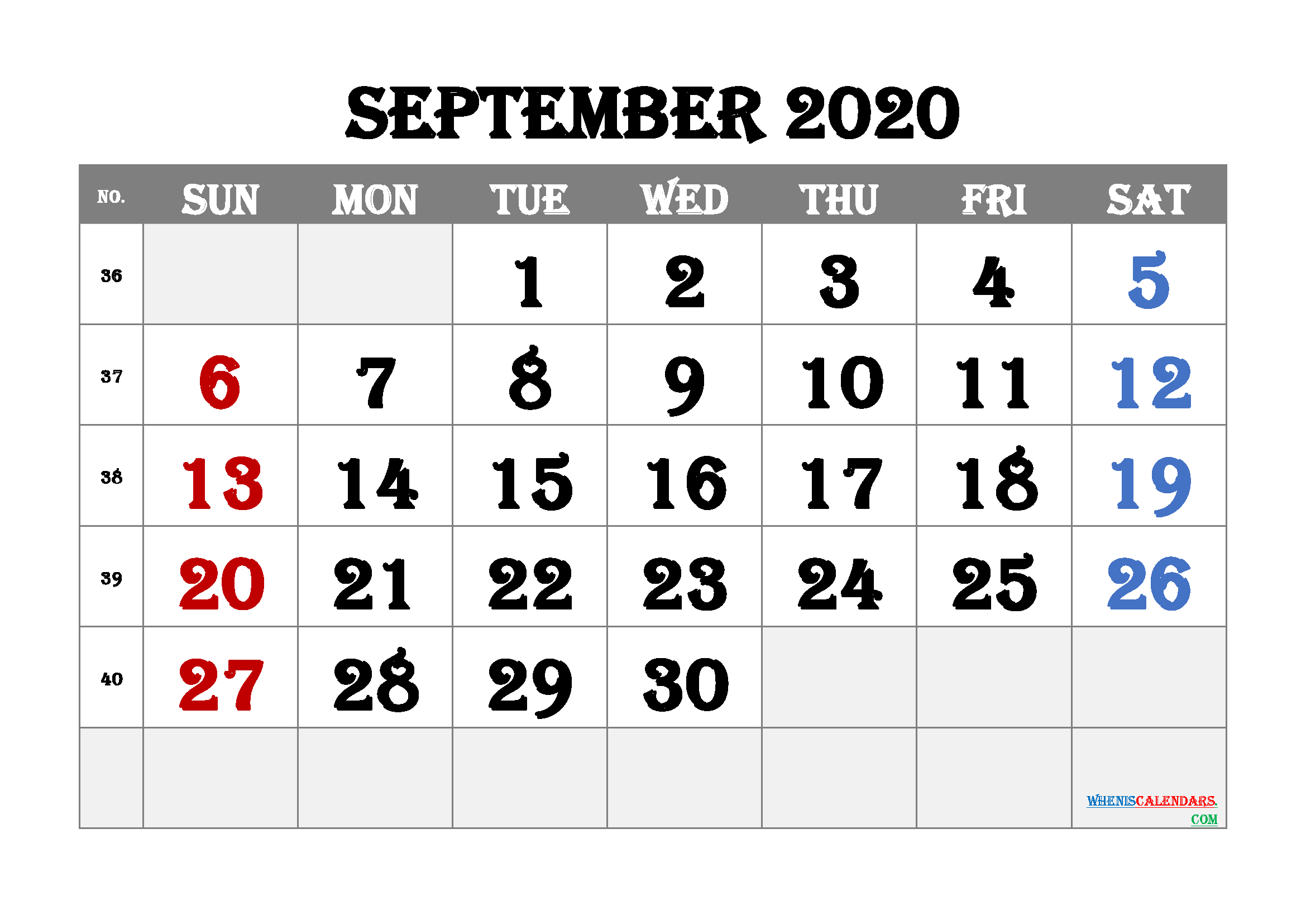 Printable September 2020 Calendar for Free