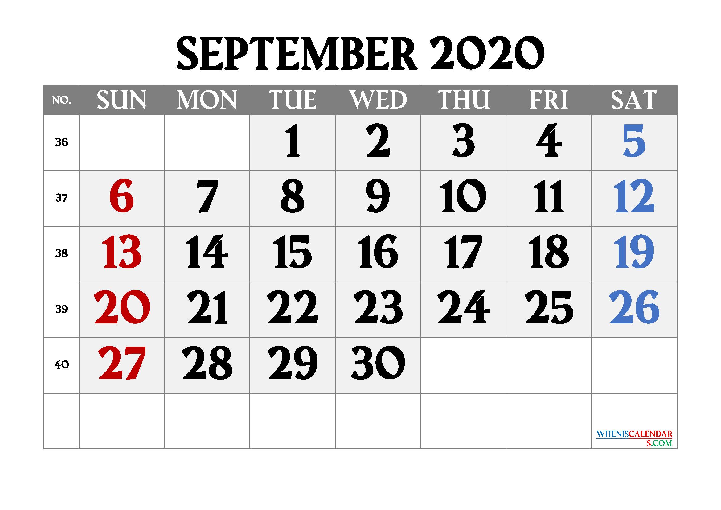 Editable September 2020 Calendar Free