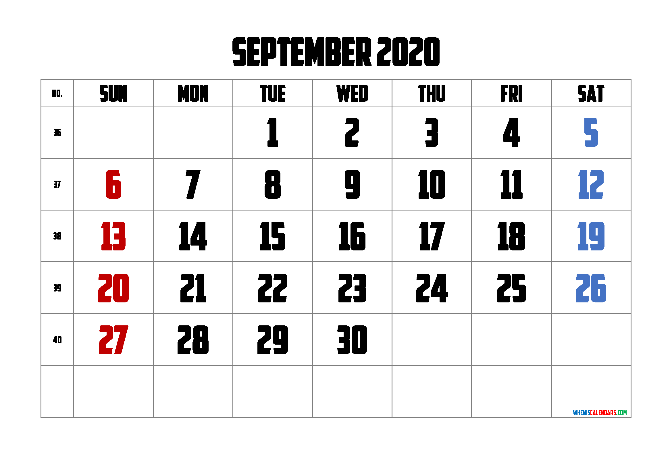 September 2020 Printable Calendar Free