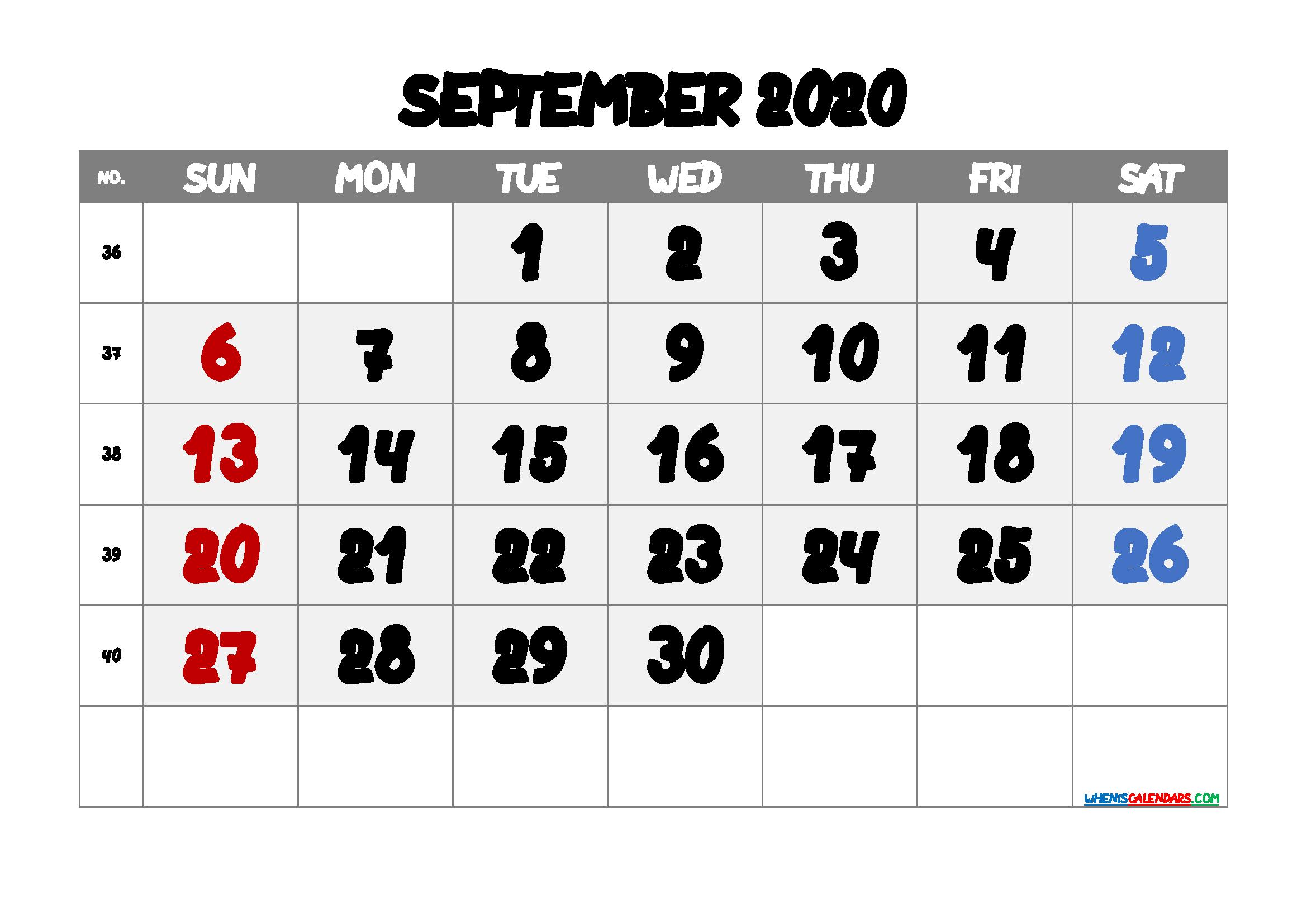 Free Calendar September 2020 Printable