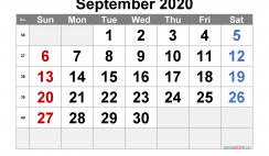 Printable September 2020 Calendar PDF