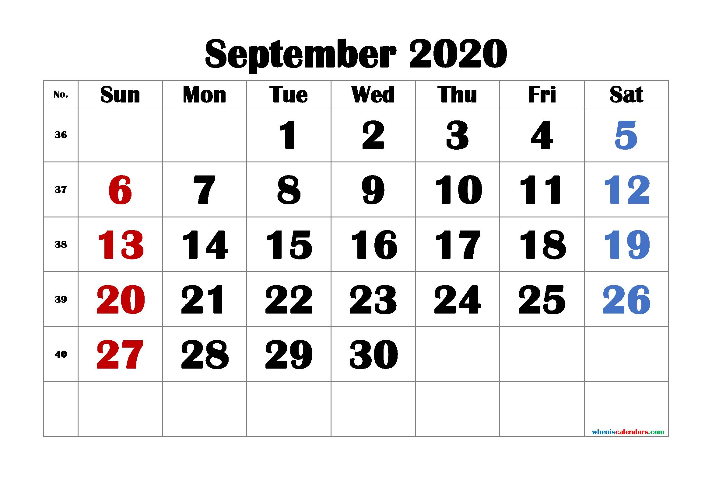 Printable September 2020 Calendar