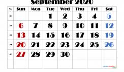 Editable September 2020 Calendar