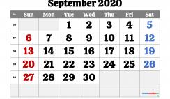 Printable September 2020 Calendar Free