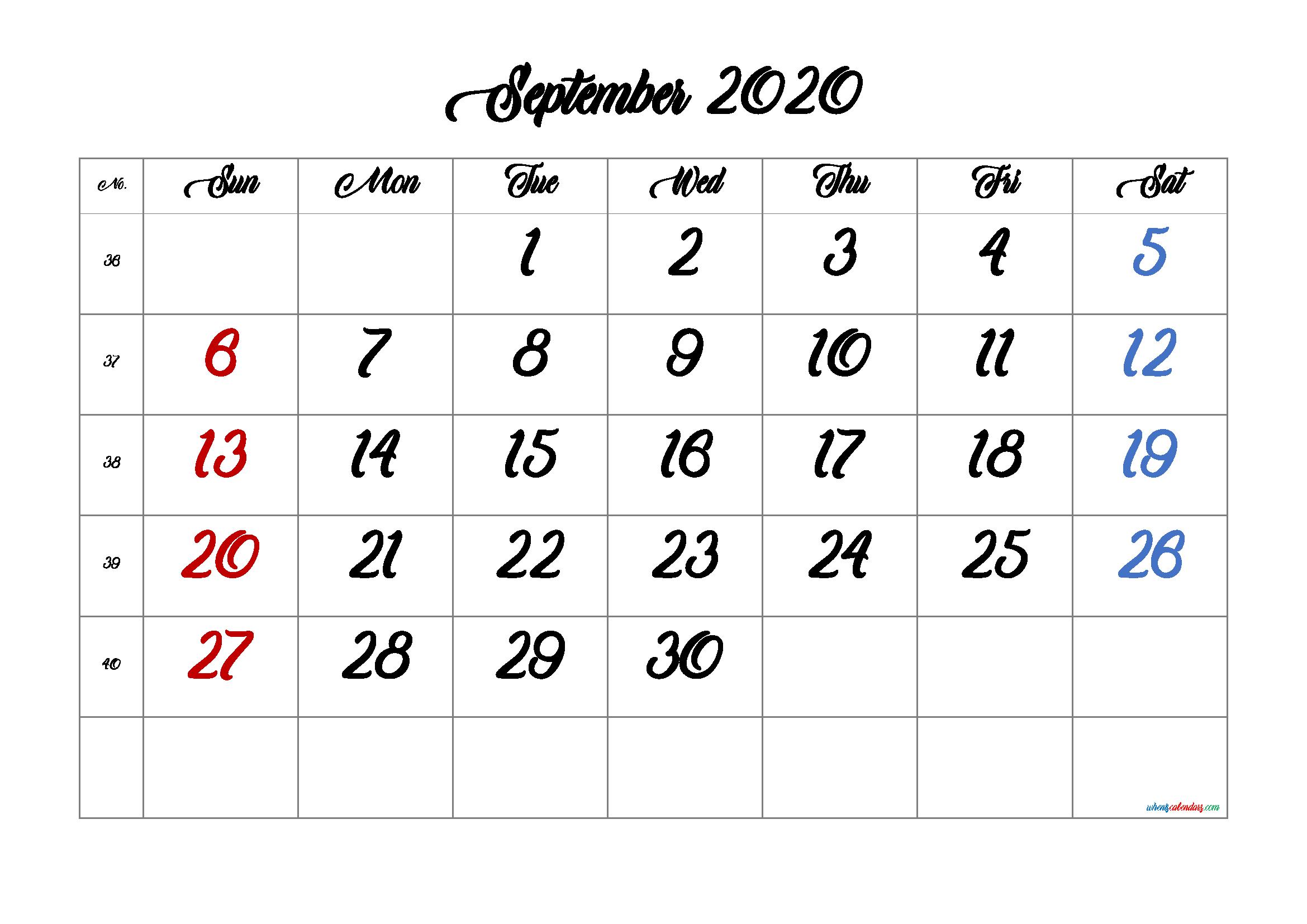 Calendar September 2020 Printable Free