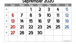 Calendar September 2020 Free Printable